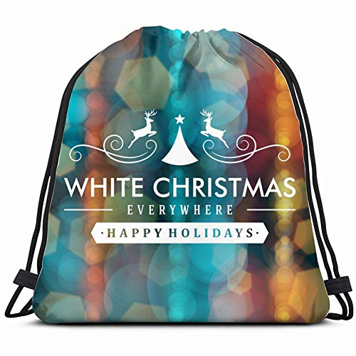 fjfjfdjk Merry Christmas Message Light Snowflakes Vintage Drawstring Backpack Gym Sack Lightweight Bag Water Resistant Gym Backpack for Women&Men for Sports,Travelling,Hiking,Camping,Shopping Yoga (Merry Christmas Lights-banner)