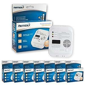 7x Nemaxx CO Détécteur de Monoxyde de Carbone Detecteur de CO Gaz Alarme - conforme EN 50291