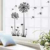 iTemer Vinilos decorativos pared dormitorio Pegatinas pared decorativas Stickers Decoracion pared Un hermoso regalo Diente de león Negro 1 set
