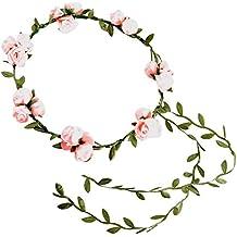 iShine Diadema Corona Flores para Cabello Guirnalda Flores Artificiales para el pelo Elegante Decoradas para Boda Fiesta Viaje(Rosa)