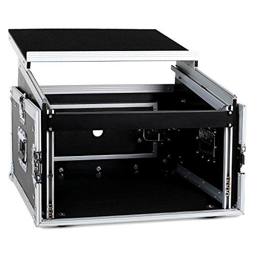 """Frontstage SC-MLT6U Rack Case (19\"""" Tiefe: 10HE, Höhe: 6HE, Ablagefläche mit 50 x 43cm, Gewicht: ca. 22 kg, Kabelschacht Lochdurchmesser: 3,5cm, Alu-Holz-Bauweise) schwarz-silber"""