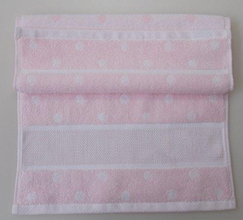 Gästehandtuch mit Aidabordüre zum Besticken - in vielen Farben zur Auswahl 244 rosa mit Punkten (Gezählt Kreuzstich-handtücher)