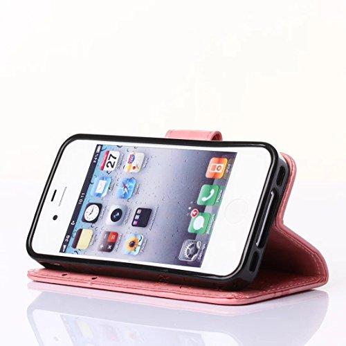 Custodia Apple iPhone 7 - Cover Apple iPhone 7 - DBIT Custodia In PU Pelle Con Flip Cover Per Apple iPhone 7 Custodia Pelle - Grigio Pink