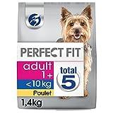 Perfect Fit Hundefutter Trockenfutter Adult 1+ für kleine und sehr kleine Hunde <10kg reich an Huhn, 4 Beutel (4 x 1,4kg)