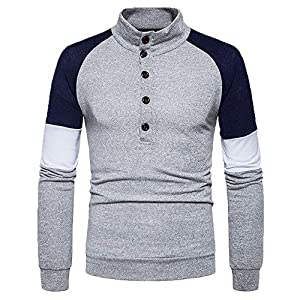 JUSTSELL Langarmshirts Pullover Herren Herbst Winter,Männer Gestreift Sweatshirt Hoher Kragen Streetwear Pullover Knopfleiste Sweater Casual Pullover Tops