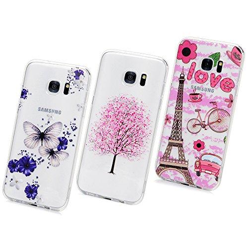 Samsung Galaxy S7 Edge Hülle, Pincenti TPU Case Ultra Dünn Schutzhülle Hübsches Bild Weiche Flexible Silikon-Gummi Tasche Anti-Kratzer schützende Abdeckung Cover in Schmetterling Pflaumenbaum -Turm für Samsung Galaxy S7 Edge(3 Pics)