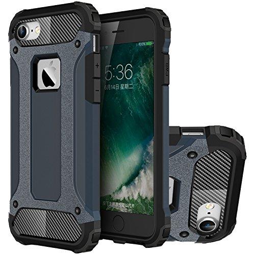 iPhone 7 Hülle, HICASER Hybrid Dual Layer Rugged Heavy Duty Defender Case [Shock Proof] Drop Resistance TPU +PC Handytasche Schutzhülle für Apple iPhone 7 4.7-inch Silber Dark Blau