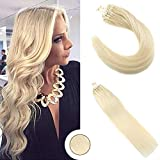 Ugeat 1g*50brins Human Hair Extensions Cheveux Humains Bresilien Extension Cheveux 55cm Naturel Blond #613 50g