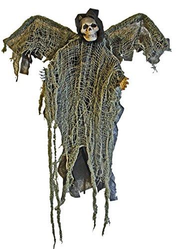 1A Halloween Deko-Figur, Deko-Geist mit Flügeln, Deko-Figur Sensenmann am Stab mit Flügeln 51 - Geist Halloween-sensenmann