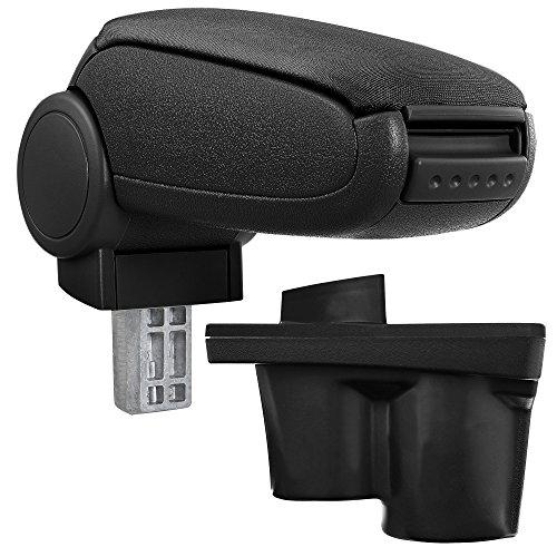 Preisvergleich Produktbild [pro.tec] Mittelarmlehne - Armauflage mit Staufach - gepolstert - Textil - schwarz