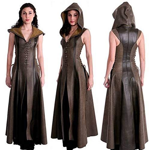 Huntfgold Kriegerin Kostüm Ärmellose Slim Fit Kunstleder Lange Kleid mit - Gothic Göttin Für Erwachsenen Kostüm