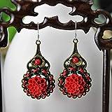 FAH Chinesischer Stil/Ethno-Stil Ohrringe/Ohrringe / Schmuck/Rote Blumen/Übertrieben Große Ohrringe Weiblich/Lang / Handgefertigt,B,#