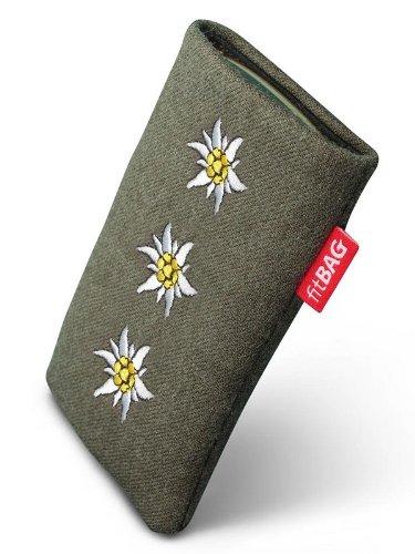 fitBAG Trachten Edelweiß Handytasche Tasche aus Textil-Stoff mit Microfaserinnenfutter für LG G6 | Schlanke Hülle als edles Zubehör mit praktischer Reinigungsfunktion | Rundumschutz | Made in Germany (Stoff-tasche G6)