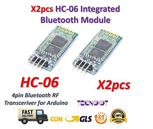 TECNOIOT 2pcs HC-06 Modulo Inalambrico Arduino HC06 Bluetooth con Base Slave...