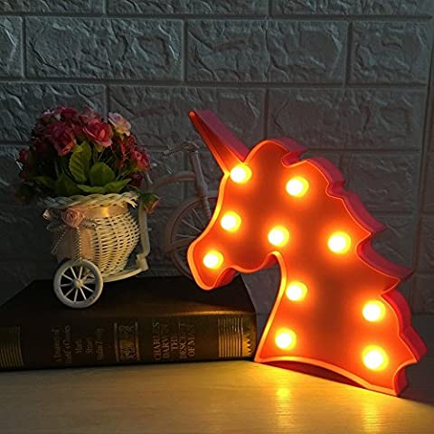Cute Unicorn Led Night Light Animal / Fruit Shape Marquee Lampes LED sur le mur pour enfants Cadeaux enfants Éclairage intérieur Chrismas Party Wedding Room Decor (rose Unicorn Head)