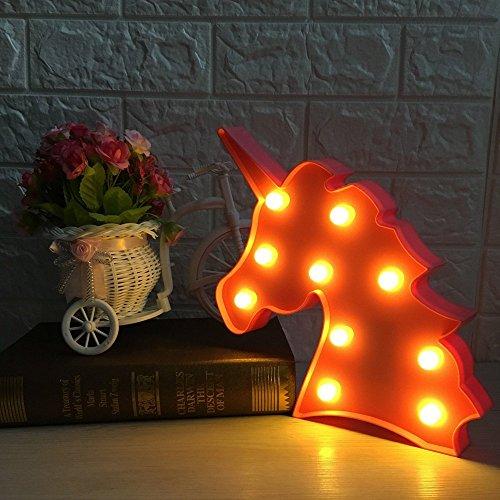 Netter Einhorn-Kopf führte Nachtlicht-Tier / Frucht-Form Marquee LED-Lampen auf Wand für Kinder Kinder Geschenk Innenbeleuchtung Chrismas Partei Hochzeitsraum Dekor (Rosa Einhorn Kopf) (Kinder-wand-dekor)