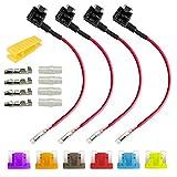 Gebildet 4pcs 32V 20A Perfil Bajo Add-a-Circuito Portafusibles, ACN Portafusibles con Alambre, Cable Fusible, con 6pcs Fusible de Miniatura (3A /5A /7