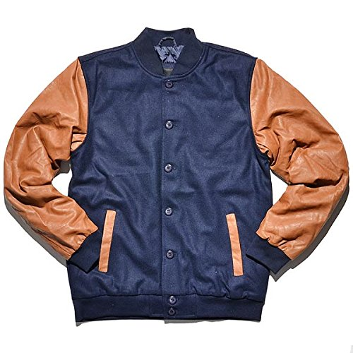 Urban Classics Wool Leather Button Jacket Giacca college blu/marrone, navy/cognac, Small