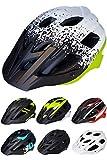 Skullcap® Fahrradhelm ♦ MTB Helm ♦ Mountainbike Helm ♦ Herren & Damen ♦ Schwarz/Neon-Grün matt ✚ Visier/Helmschild (White-Black-Green, M)