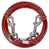 Ezee Paws - Cable para atar al perro en exteriores - Incluye bolsa de transporte - Rojo - 4,5 m (15 ft)
