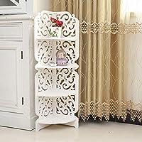 KingSaid 4 Tier Wall Mounted Corner Unit Display Storage Shelf Wood Plastic Composite Storage Organiser Rack for Home Office Bedroom Bathroom