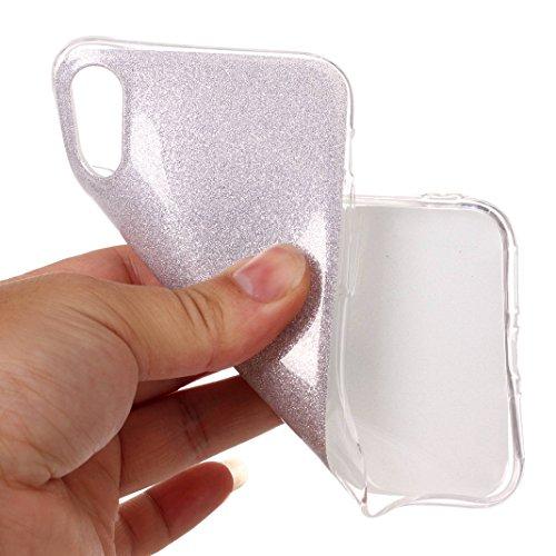 Rosa Schleife iPhone X Glitzer Hülle Ultra Dünn Weiche Silikon TPU Backcover Bling Schale Silber