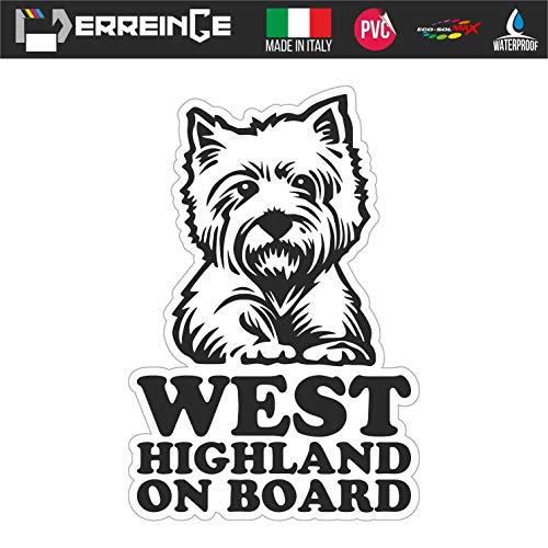 erreinge Sticker West Highland ON Board Cane Adesivo Sagomato in PVC per Decalcomania Parete Murale Auto Moto Casco Camper Laptop - cm 20