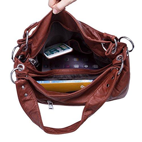 Damen Handtasche Gewaschen Weiche Leder Große PU Cross Body Schulter Taschen für Frauen - Khaki Braun