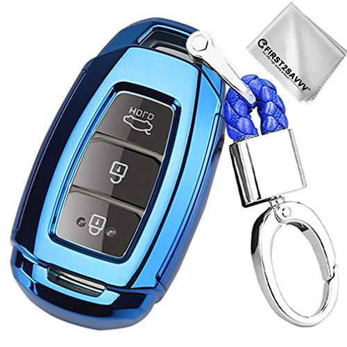 Key Protection Shell Auto Schlüssel Hülle Keyless Fahrzeug Case Etui Silikon mit Schlüsselanhänger Für 2017-2019 Hyundai Veloster Kona Azera 2019 Hyundai Santa FE i30 ix35 3 Buttons Blau