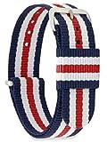 MOMENTO Damen Herren NATO Nylon Uhren-Armband Ersatz-Armband Uhren-Band mit Edelstahl-Schliesse in Silber und Blau Weiss Rot Gestreift 14mm