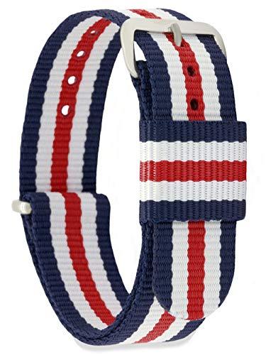 MOMENTO Damen Herren NATO Nylon Ersatz Uhren-Armband Strap mit Edelstahl-Schliesse in Silber und Nylon-Armband in Blau Weiss Rot 22mm (Blau, Rot, Weiß, Armband)