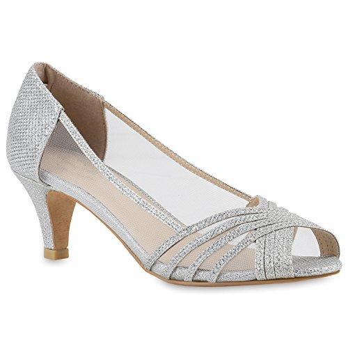 Stiefelparadies Klassische Damen Pumps Kitten Heels Lack Peeptoes Strass Abend Braut Transparent Stilettos Schuhe 143415 Silber Transparent 38 | Flandell® (Kitten Schuhe Kleid Heel)
