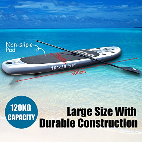 51Aivy21JIL. SS500  - COSTWAY 10FT/11FT SUP Inflatable Stand Up Paddle Board W/Carry Bag, Repair Kit, Tail Vane, Adjustable Paddle, Hand Pump with Pressure Gauge, Ideal Beginners Soft Surfing Board Kit