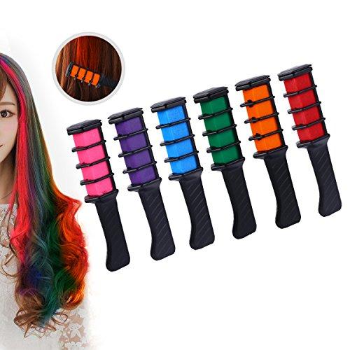 Cheveux Craie, Hair Chalk, Konsait craie de couleur de cheveux instantanée crayons de cire de cheveux teints coloration temporaire Pastel lavable, non-toxique, pour femmes enfants filles Cadeau de fête et anniversaire