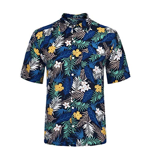 Komfortables Kurzarm-baumwolle (Ikevan 2019 Sommer Herren Freizeit Kurzarm Herren Komfortable Freizeithemd Tops Size:XL blau)