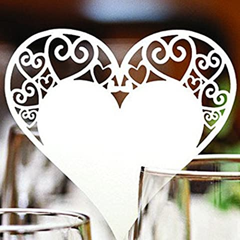 Name Place Cards, Tinksky 50 Pcs Laser Cut White Love Heart Table Name Cards Champagne / Wine Glass Place Cards Wedding Party