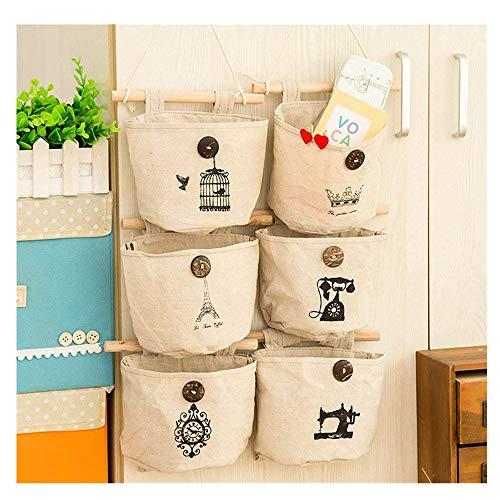 Sacche portaoggetti in cotone e lino per parete, porta, ripostiglio, organizer per la casa da appendere con 6tasche per porte e armadi, stile nostalgico