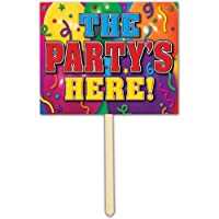 The Party's Here Yard Sign Party Accessory (1 count)
