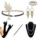 KQueenStar 1920s Damen Accessoires Set Haarschmuck Halskette Handschuhe Zigarettenhalter Stirnband Gatsby Retro Stil Kostüm (5PCS-A)