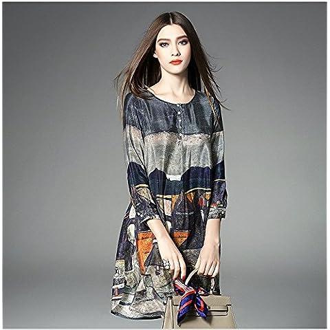 GYX astratto stampato plus size seta vestito abbigliamento donna,