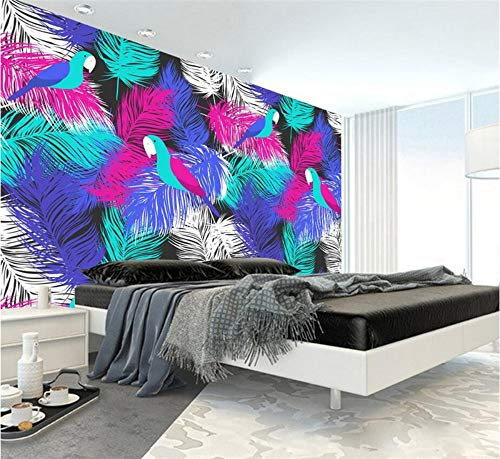 Preisvergleich Produktbild YUANLINGWEI Wandbild Tapete Benutzerdefinierte 3D Papier Farbe Feder Papagei Muster Wandbild Tapete Tv Hintergrund Restaurant, 100Cm (H) X 200Cm (W)