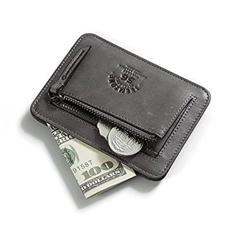 Leder-Geldklammer-Münzbörse-Kreditkartenetui-Kleines Portemonnaie-Damen/Herren-im Used Look