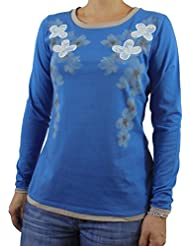 Camiseta mujer algodón manga larga color azul estampado flores y encaje bordado. t-shirt