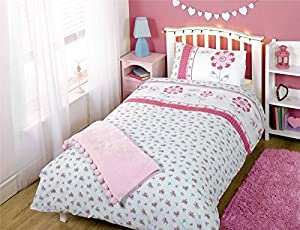 Floral Flowers Polka Dot Buttons Blue Pink Cotton Blend Single 5 Piece Bedding Set