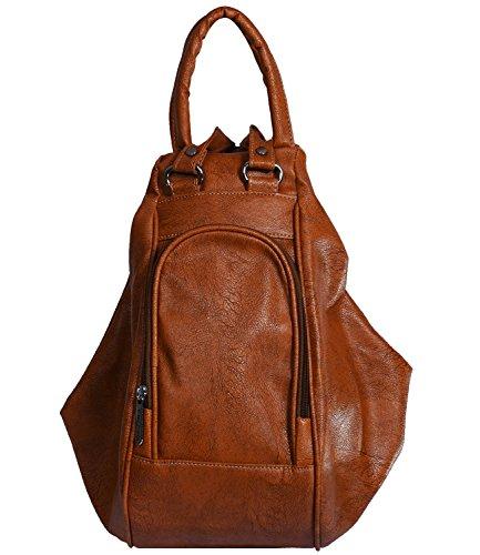 Fristo Women\'s Shoulder Bag Cum Backpack Handbag(Tan,Frb-072)