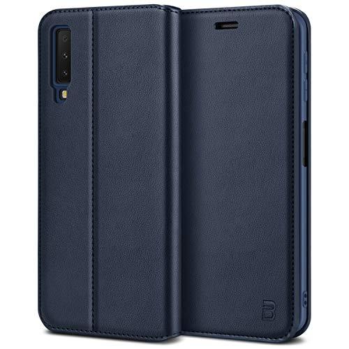 BEZ Handyhülle für Samsung Galaxy A7 2018Hülle, Tasche Kompatibel für Samsung A7 2018, Case Schutzhüllen aus Klappetui mit Kreditkartenhaltern, Ständer, Magnetverschluss, Blaue Marine