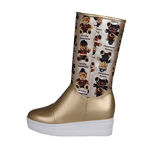 AllhqFashion Damen Blend-Materialien Rund Zehe Ziehen Auf Stiefel Golden-Wedges