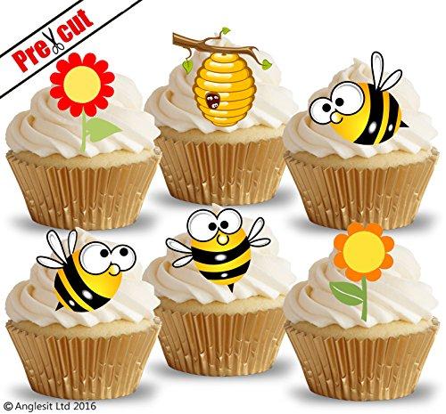 Anglesit Other vorgeschnittenen Süße Bienen & Blumen essbarem Reispapier/Waffel Papier Cupcake Kuchen Topper Party Geburtstag Kinder Kinder Dekorationen