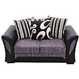 Panana-S Farrow Leather & Fabric Sofa Set 2 Seater Black & Grey