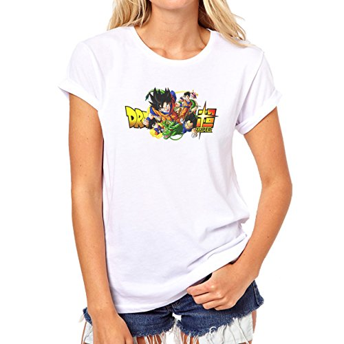 Dragon Ball Super Characters Goku Gohan Vegeta Trunks Goten Buu Damen T-Shirt Weiß